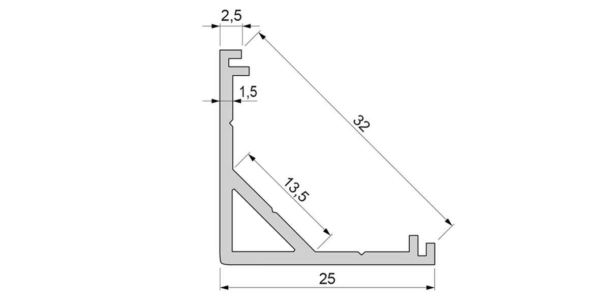 Alu Eck-Profil / Aufbauprofil mit opalweißer Abdeckung