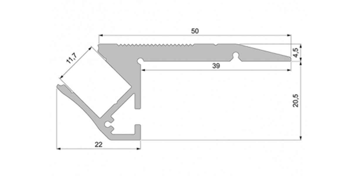 Alu Treppenstufen-Profil mit begehbarer Abdeckung