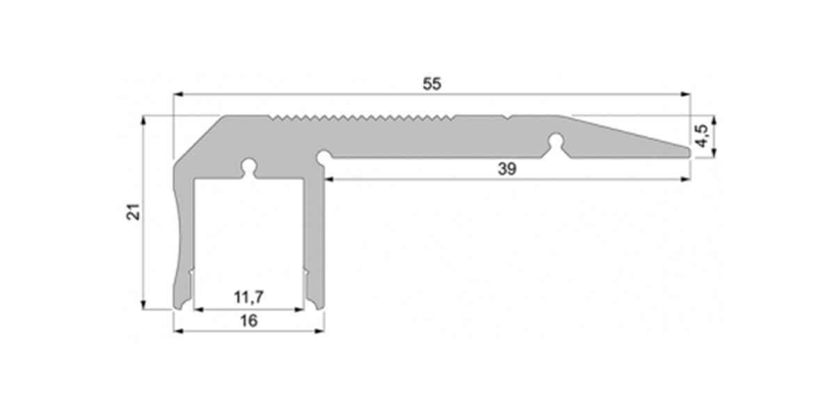 Alu Treppenstufen-Profil mit opalweißer Abdeckung