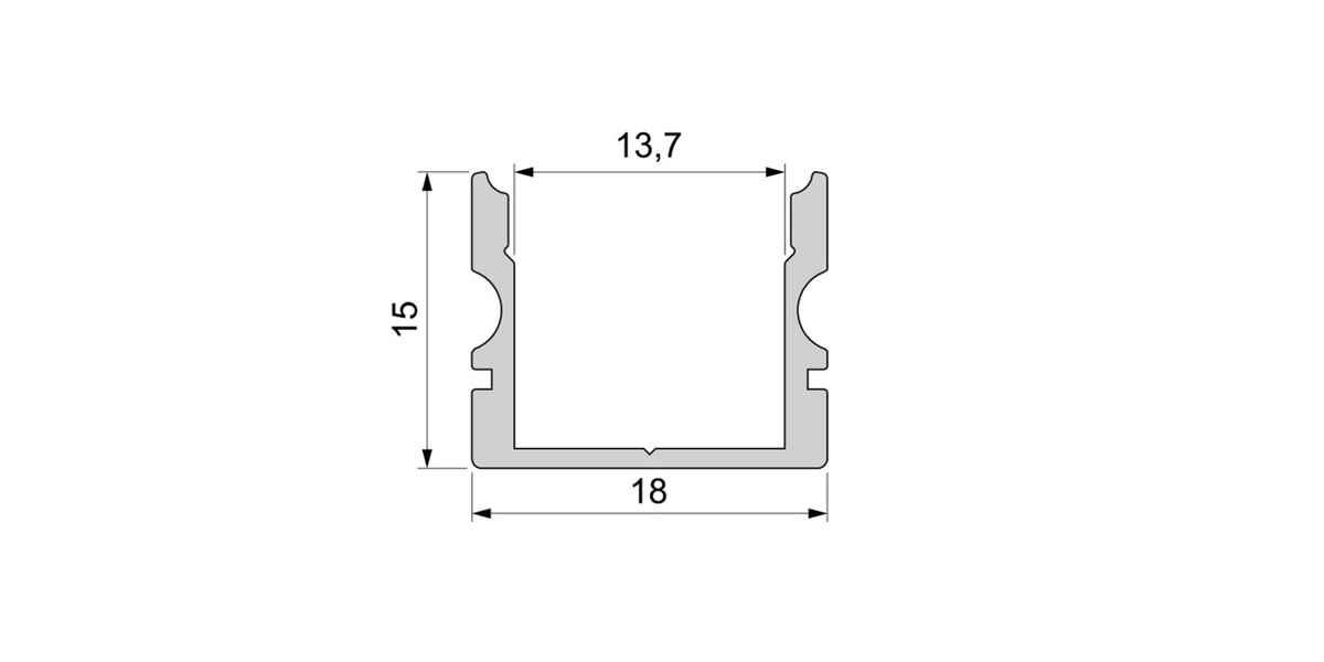 Alu U-Profil hoch / Aufbauprofil mit opalweißer Abdeckung