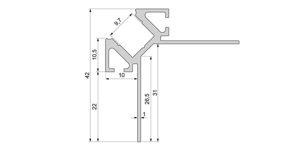 Alu Fliesenprofil für 10 mm Fliesen / Ecke außen mit opalweißer Abdeckung