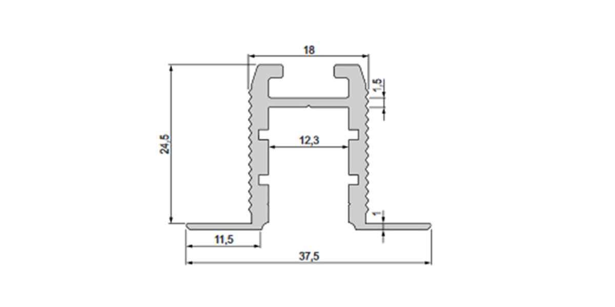 Alu T-Profil / Trockenbauprofil mit opalweißer Abdeckung