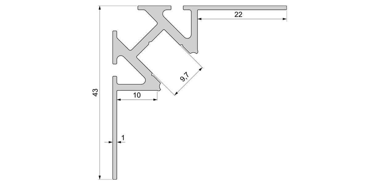 Alu Fliesen-Profil für 10 mm Fliesen / Ecke innen mit opalweißer Abdeckung